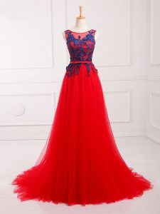 Dazzling Red Empire Scoop Sleeveless Tulle Brush Train Lace Up Lace and Appliques Graduation Dresses