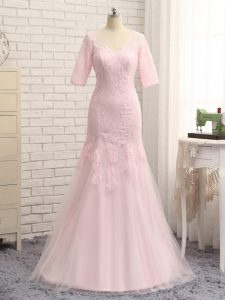 Best Selling Baby Pink Half Sleeves Tulle Zipper Graduation Dresses for Prom and Military Ball and Beach