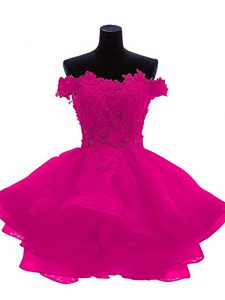 Flirting Sweetheart Sleeveless Graduation Dresses Mini Length Beading and Lace and Appliques and Ruffles Fuchsia Organza