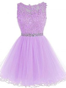 Hot Sale Sleeveless Tulle Mini Length Zipper Graduation Dresses in Lavender with Beading and Lace and Appliques