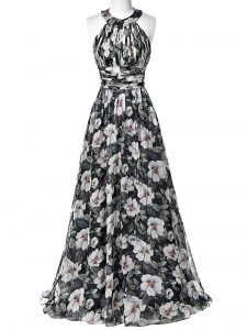 Excellent Printed Halter Top Sleeveless Zipper Ruching Graduation Dresses in Multi-color