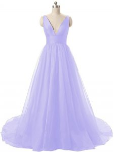 Sumptuous Backless Graduation Dresses Lavender for Prom and Party and Military Ball with Ruching Brush Train