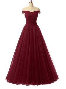 Burgundy A-line Ruching Graduation Dresses Lace Up Tulle Sleeveless Floor Length