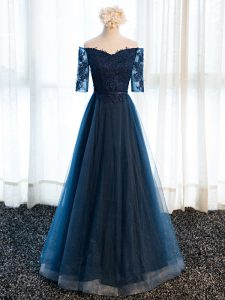 Adorable Navy Blue Lace Up V-neck Beading and Lace and Appliques Graduation Dresses Tulle Half Sleeves