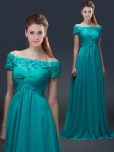 Glamorous Floor Length Empire Short Sleeves Teal Graduation Dresses Lace Up