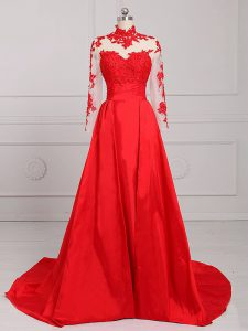Superior Red High-neck Backless Lace and Appliques Graduation Dresses Brush Train Long Sleeves