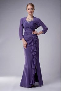 Adorable Straps Sleeveless Graduation Dresses Floor Length Beading Purple Chiffon
