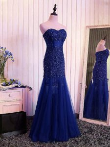 Tulle Sweetheart Sleeveless Lace Up Beading and Lace and Appliques and Pleated Graduation Dresses in Royal Blue