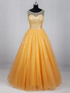 Affordable Gold Sleeveless Beading and Sequins Floor Length Graduation Dresses