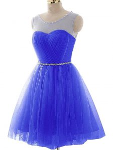 Blue Scoop Lace Up Beading and Ruching Graduation Dresses Sleeveless