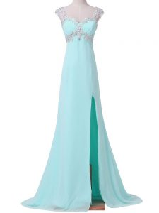 Aqua Blue Cap Sleeves Beading Graduation Dresses with Jewelry