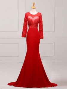 Red Long Sleeves Lace and Appliques Zipper Graduation Dresses
