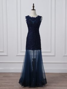 Floor Length Column/Sheath Sleeveless Navy Blue Graduation Dresses Lace Up