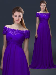 Chiffon Off The Shoulder Short Sleeves Lace Up Appliques Graduation Dresses in Purple