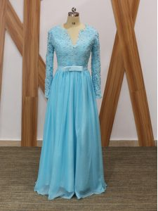 Long Sleeves Backless Floor Length Lace Graduation Dresses