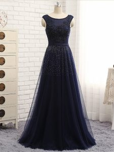 Navy Blue Graduation Dresses Prom and Party and Sweet 16 with Beading Scoop Sleeveless Zipper