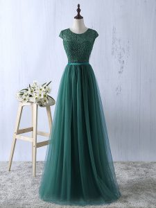 Dark Green Tulle Zipper Scoop Short Sleeves Floor Length Graduation Dresses Lace
