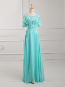 Elegant Aqua Blue Half Sleeves Lace and Appliques Floor Length Graduation Dresses