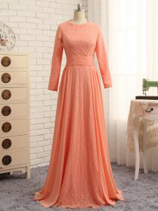 Scoop Long Sleeves Zipper Graduation Dresses Orange Chiffon