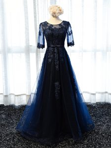 Sophisticated Navy Blue Scoop Neckline Lace and Appliques Graduation Dresses Half Sleeves Lace Up