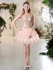 Simple Peach Sleeveless Mini Length Beading and Lace and Appliques Lace Up Graduation Dresses