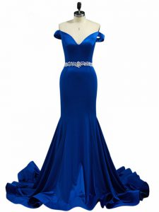 Royal Blue Off The Shoulder Zipper Beading Graduation Dresses Brush Train Sleeveless