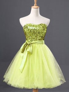 Cute Tulle Sleeveless Mini Length Graduation Dresses and Sequins