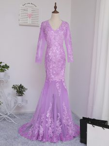 Lilac Mermaid V-neck Long Sleeves Tulle Brush Train Side Zipper Lace and Appliques Graduation Dresses