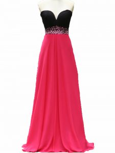 Exquisite Beading Graduation Dresses Pink And Black Zipper Sleeveless Floor Length