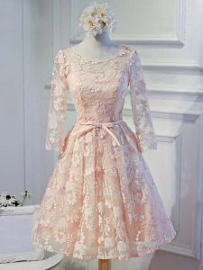 Sumptuous A-line Graduation Dresses Peach Scoop Organza Long Sleeves Knee Length Lace Up