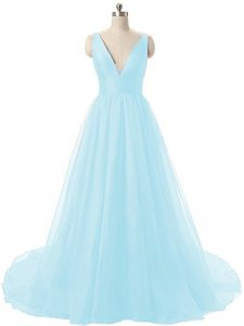 Aqua Blue Graduation Dresses V-neck Sleeveless Brush Train Backless