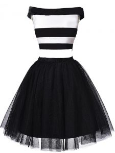 Exquisite Mini Length Zipper Graduation Dresses White And Black for Prom and Party and Sweet 16 with Ruching