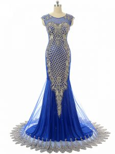 Dazzling Royal Blue Sleeveless Beading and Lace and Appliques Graduation Dresses