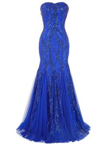 Free and Easy Royal Blue Sleeveless Brush Train Sequins Graduation Dresses