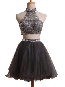 Black Organza Criss Cross Graduation Dresses Sleeveless Mini Length Beading
