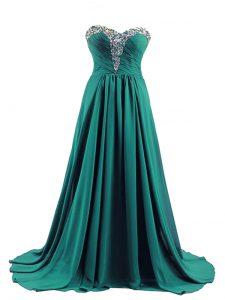 Turquoise Empire Elastic Woven Satin Sweetheart Sleeveless Beading Lace Up Graduation Dresses Brush Train