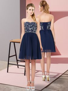 Sweetheart Sleeveless Chiffon Graduation Dresses Beading Lace Up
