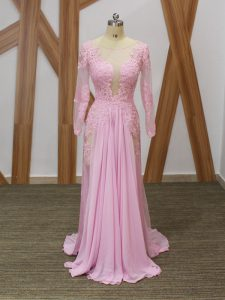 Decent Baby Pink Empire Chiffon Scoop Long Sleeves Lace and Appliques Zipper Graduation Dresses Brush Train