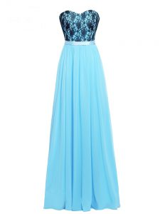 Adorable Aqua Blue Sleeveless Floor Length Lace and Appliques Zipper Graduation Dresses