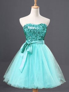 Adorable Aqua Blue A-line Tulle Sweetheart Sleeveless Sequins Mini Length Zipper Graduation Dresses