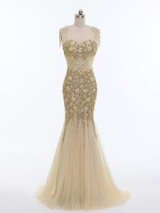 Exceptional Tulle Sleeveless Graduation Dresses Brush Train and Beading