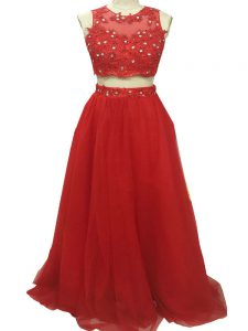 Fashionable Red Two Pieces Scoop Sleeveless Tulle Sweep Train Zipper Beading and Appliques Graduation Dresses