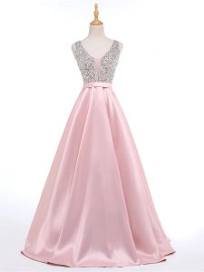 Baby Pink A-line V-neck Sleeveless Elastic Woven Satin Brush Train Backless Beading Graduation Dresses