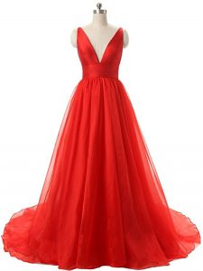Traditional V-neck Sleeveless Brush Train Backless Graduation Dresses Red Organza