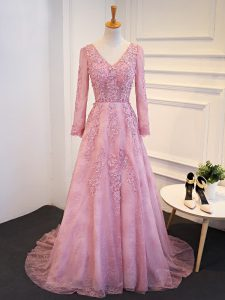 Lace and Appliques Graduation Dresses Pink Lace Up Long Sleeves Brush Train