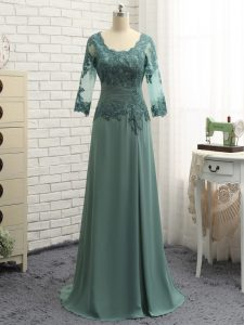 Charming Green Chiffon Zipper Scalloped Long Sleeves Floor Length Graduation Dresses Lace and Appliques and Ruching