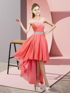 Modern High Low A-line Sleeveless Watermelon Red Graduation Dresses Lace Up