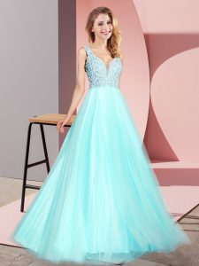 Aqua Blue V-neck Neckline Lace Graduation Dresses Sleeveless Zipper