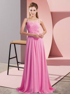Ruching Graduation Dresses Rose Pink Backless Sleeveless Sweep Train