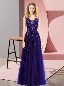 Purple Square Neckline Beading and Appliques Graduation Dresses Sleeveless Backless